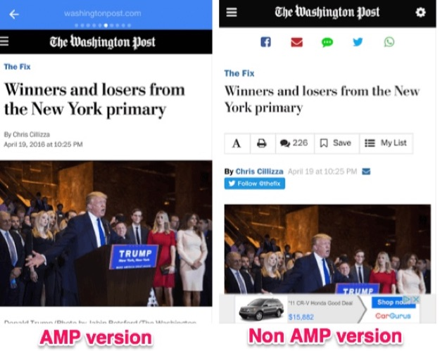 Exemple utilisant ou non l'AMP stories